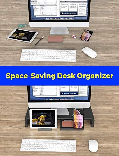 Monitor Stand Riser, Computer Laptop Riser Shelf with Organizer Drawer, Adjustable Length, Speaker TV PC Laptop Computer Screen Riser Desk Organizer, EURPMASK(Black) Photo #4