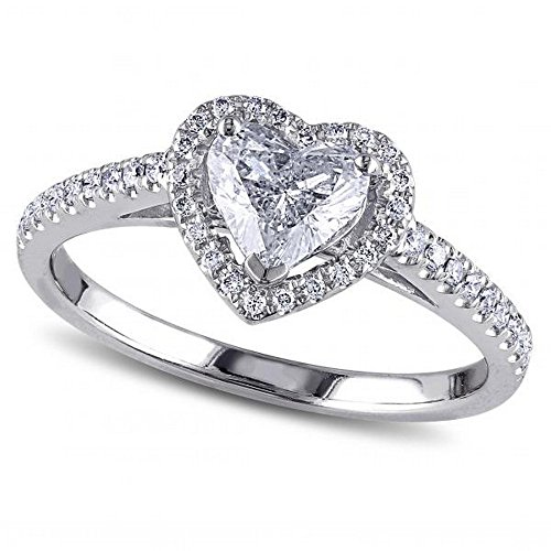 Heart Shaped Diamond Halo Engagement Ring with Side Stones in 14k White Gold (1.00ct)