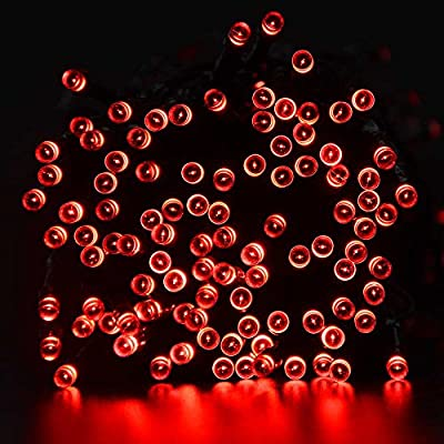 lederTEK Solar Christmas Lights 72ft 200 LED 8 Modes Fairy Garden String Light for Decoration Lighting, Outdoor, Homes, Wedding, Xmas Tree, Patio, Lawn, Party, Waterproof (Red)