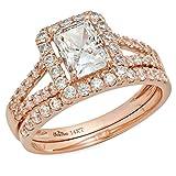 1.8 Ct Emerald Cut Pave Halo Engagement Wedding Bridal Anniversary Ring Band Set 14K Rose Gold, Clara Pucci