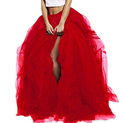 (WDPL Long Women's Special Occasion Slit Tulle Evening Skirt (Red,)