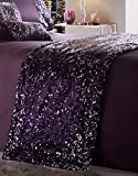 quilted bed runner - Luxury Sparkling Sequin Quilted Bed Runner Throw 50Cm X 220Cm - Dazzle Amethyst by Portfolio