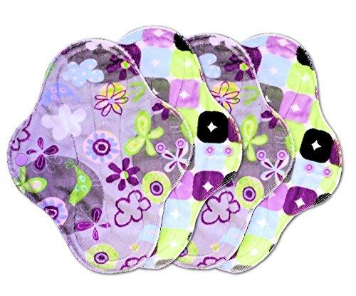 PlushPad Minky Cloth Pad, Medium Flow, Set of 4 by Talulah Bean (Amethyst/Serendipity)