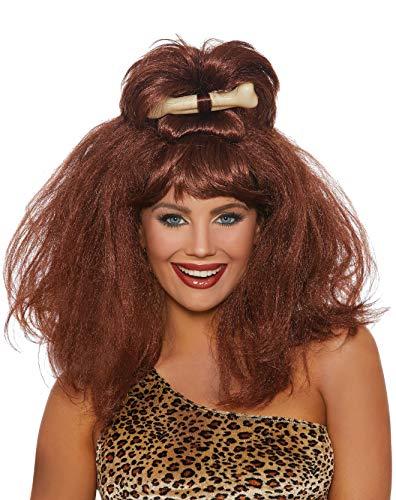 Flintstone Halloween Costume Accessories (Dreamgirl Women's Cave Girl Wig with Bone, Auburn, One)