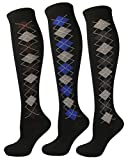Women's 3-Pair/ Pack Fashion Knee High Socks, Small Argyle Design on side of socks-Coffee/Blue/D.Grey