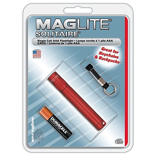 Maglite K3a036 Solitaire Red Single Cell Aaa Mag Flashlight W/ Battery & Key Lea - Solitaire Single Cell