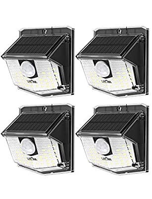 LITOM Solar Lights Outdoor, IP67 Waterproof Solar Motion Sensor Light with 270° Lighting Angle, Wireless 30 LED Solar Powered Security Wall Lights for Patio,Yard,Garage,Garden,Stairs,Driveway 4 Pack