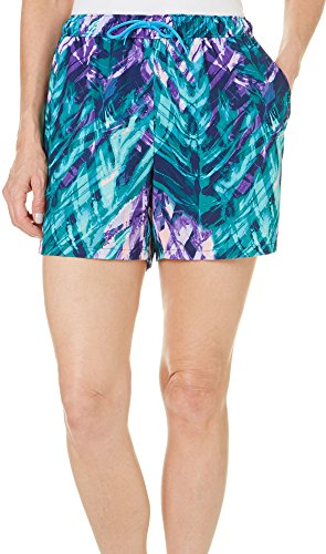 Reel Legends Womens Watery Palm Elastic Waist Shorts X-Large Watery Palm Green/Purple - Bealls Elastic Waist Shorts