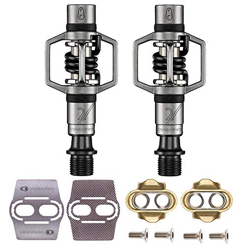 CRANKBROTHERs Crank Brothers Eggbeater 2 Hangtag Bike Pedals with Premium Cleats and Bicycle Shoe Shields Set (Black)