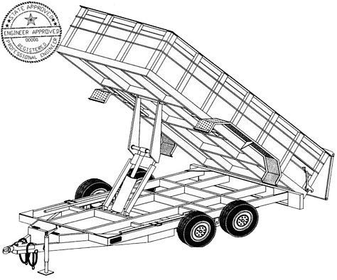 14HD Trailer Plan - 6'4'' x 14' Tandem Axle 14K Dump Trailer DIY How-to Blueprint by Master Plans & Design