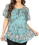 Sakkas 16482 - Ash Women's Short Sleeve Casual Tops Tie Dye Shirts Loose Blouse Shirts - Turq - OSP