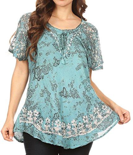 Sakkas 16482 - Ash Women's Short Sleeve Casual Tops Tie Dye Shirts Loose Blouse Shirts - Turq - OS Turquoise