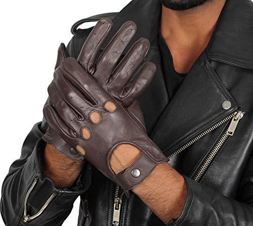 Mens Deerskin Biker Gloves - Real Leather Brown Hand Gloves (M)