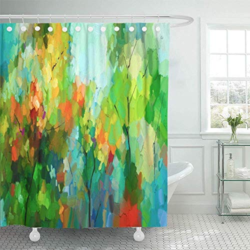 AUUOCC shower-curtains 60 x 72 inches Abstract Colorful Oil Painting Landscape on Canvas Semi of Tree in Forest Green Set with Hooks Decorative Waterproof Polyester Fabric Bathroom Shower Curtains ()