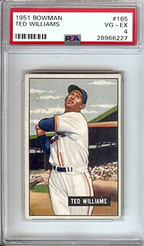 Ted Williams 1951 Bowman Vintage Baseball Card Graded PSA VG-EX 4 Red Sox #165