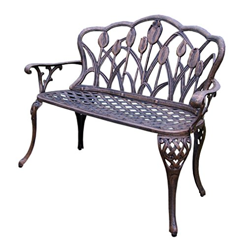 Oakland Living Tulip Cast Aluminum Loveseat Bench, Antique ()