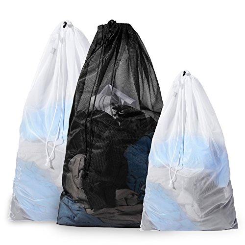 BAGAIL Set of 3 Sturdy Mesh Laundry Bag - 2 Extra Large&1 La