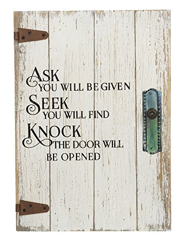 Ganz Ask, Seek, Knock Door Design Weathered White 10 x 14 Wood Wall Sign Plaque
