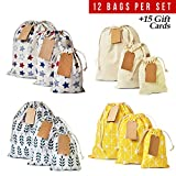 Drawstring gift bags 12pcs + 15 gift cards. Small, medium, large gift bags