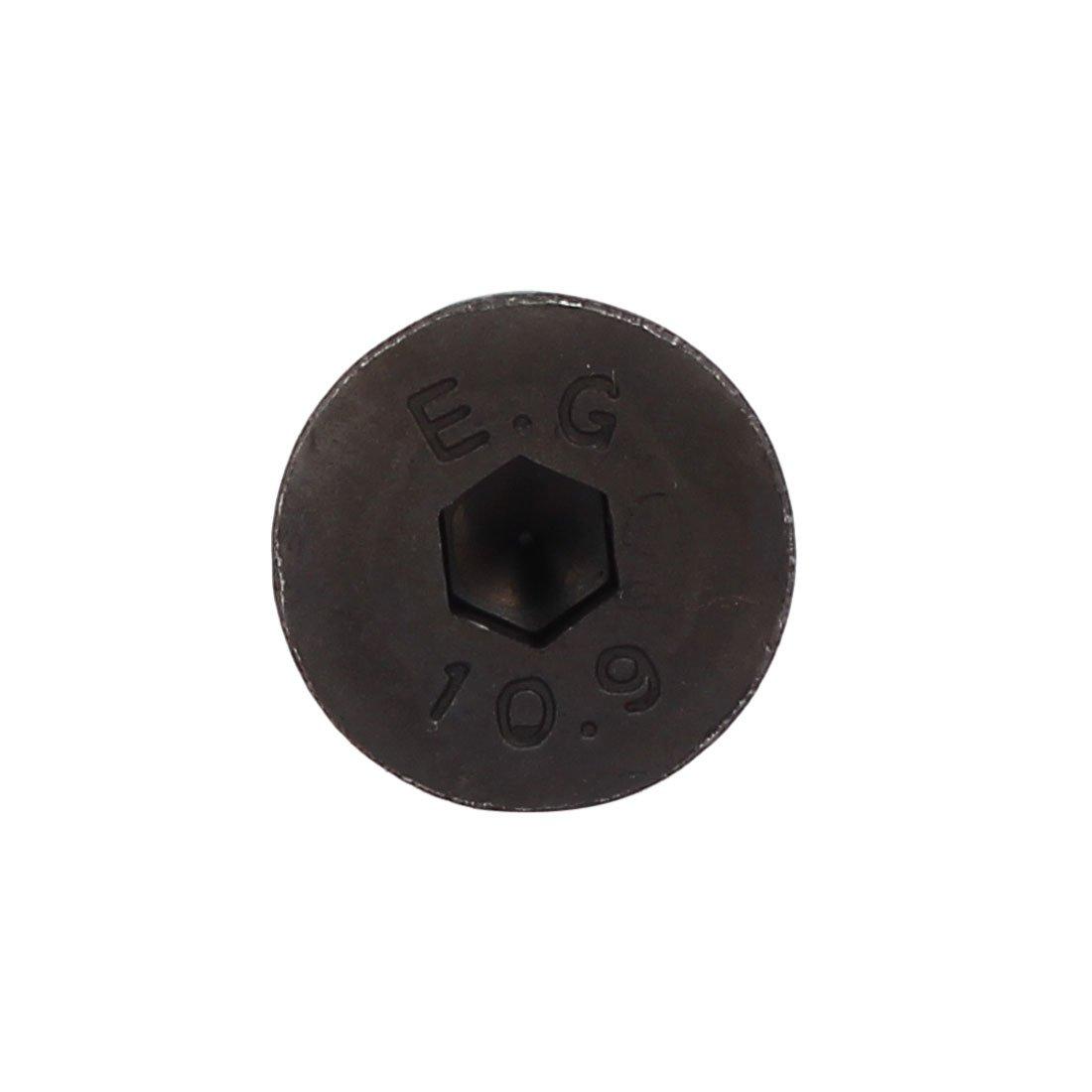 sourcing map M8x50mm 24mm long fil calibre 10,9 affleurant /à six pan creux Noir 10pc