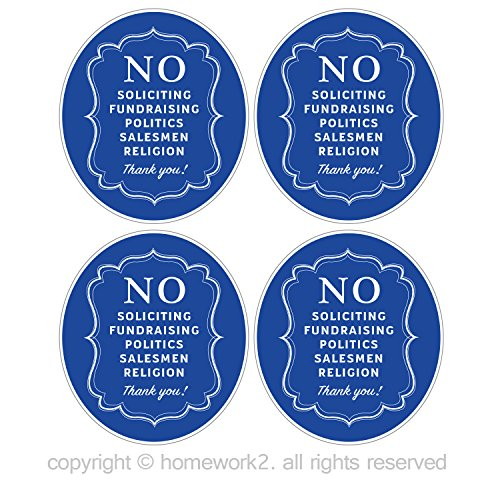 No Soliciting Sign Stickers for Home and Business, Vinyl Decals, UV Protected & Waterproof, 4 X 3.5 Inch - 4 Labels (Vinyl Cling Signs)