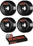 Mini Logo 58mm A-Cut Black Skateboard Wheels - 101a with Bones Bearings - 8mm Bones Reds Precision Skate Rated Skateboard Bearings (8) Pack - Bundle of 2 Items