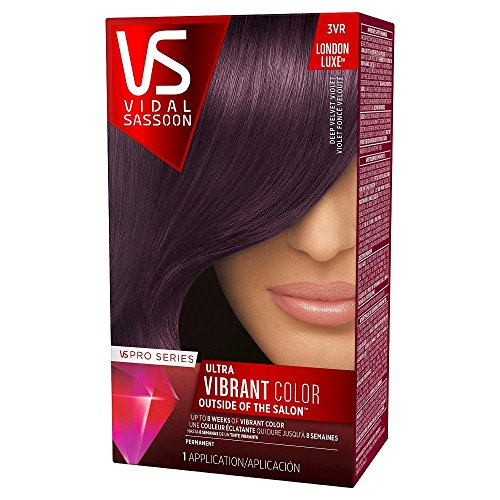 Vidal Sassoon Pro Series Ultra Vibrant Hair Color Kit, 3VR London Luxe/Deep Velvet Violet (1 Application) (Dark And Lovely Go Intense Passion Plum)