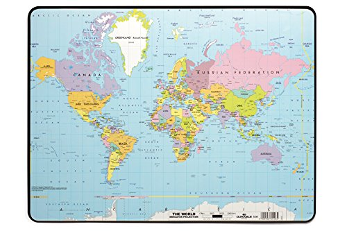 - DURABLE World Map Desk Pad, 15-3/4 x 20-3/4 Inches, Multicolor (721119)