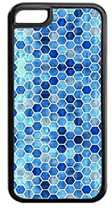 Blue Honeycomb Pattern- Case for the APPLE iphone 5c ONLY-Soft Black Rubber Outer Case