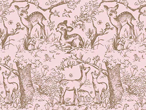 Pink Lullaby Meadow Gift Wrapping Tissue Paper for Art DIY Crafts in Bulk ~ Baby Deer # 249~10 Sheets - 20