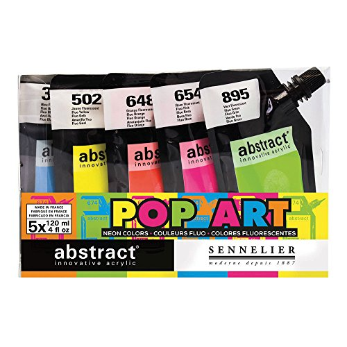 Sennelier Etude Abstract Acrylic Paint, Assorted Fluorescent Colors, Set of 5