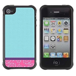 Suave TPU GEL Carcasa Funda Silicona Blando Estuche Caso de protección (para) Apple Iphone 4 / 4S / CECELL Phone case / / Teal Pink Floral Checkered Purple /