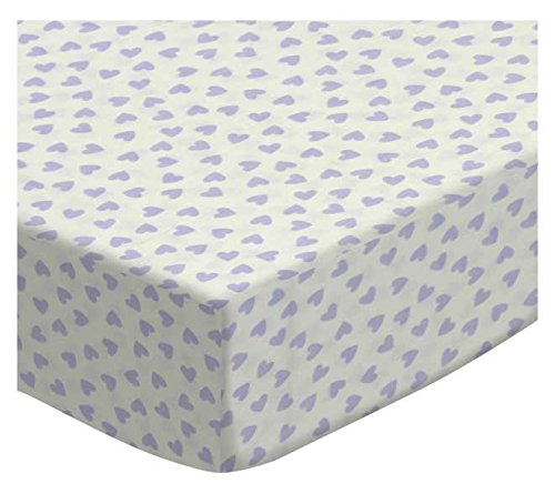 SheetWorld Fitted Cradle Sheet - Pastel Lavender Hearts Woven - Made In USA