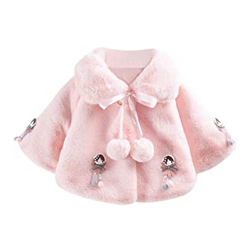 Baby Clothes Girls Infant Fur Winter Warm Outerwear Coat Cloak Thick 0~24 Month