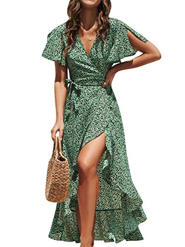 Simplee Women's V Neck Wrap Floral Print Split Belted Flowy Boho Short Sleeve Beach Maxi Dress (Green 4/6)