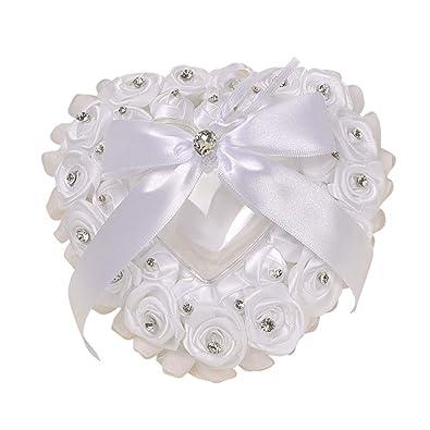 Amosfun - Alianzas de boda, cojín de raso con lazo, anillo ...