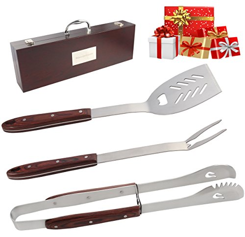ROMANTICIST Heavy Duty BBQ Tools Set - 4PC Grill Tools Gift Kit with Extra Long Color Wood Handle - Stainless Steel Barbecue Grilling Utensils in Wood Carry Case - Premium Grilling Accessories for Men
