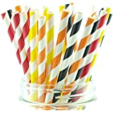 Firefighter Party Straws (25 Pack) - Fire Truck Birthday Party Supplies, Fireman Paper Straws, Fire Engine Station Party Decorations
