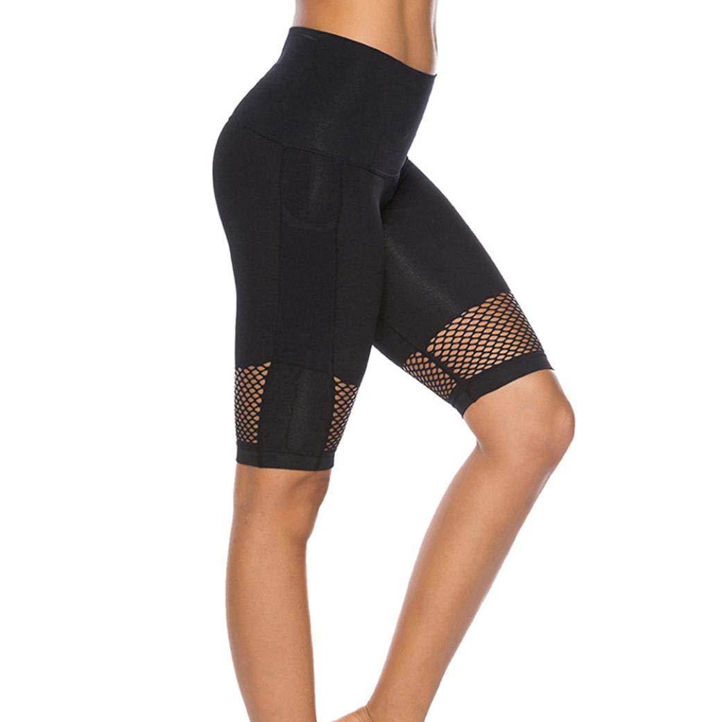 Gillberry Power Flex Yoga Capris Pants Tummy Control Workout Running 4 Way Stretch Yoga Capris Leggings Side Pocket (Black A, S)