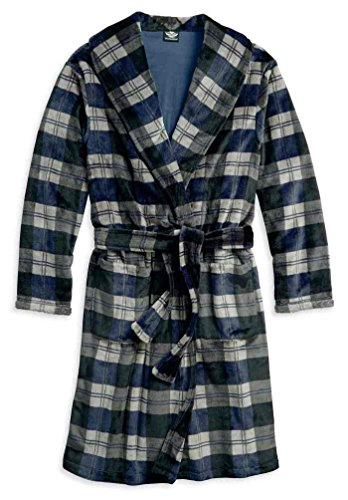 Harley-Davidson Men's Embroidered Plaid Fleece Lounge Bath Robe 97790-18VM (Embroidered Fleece Jersey)