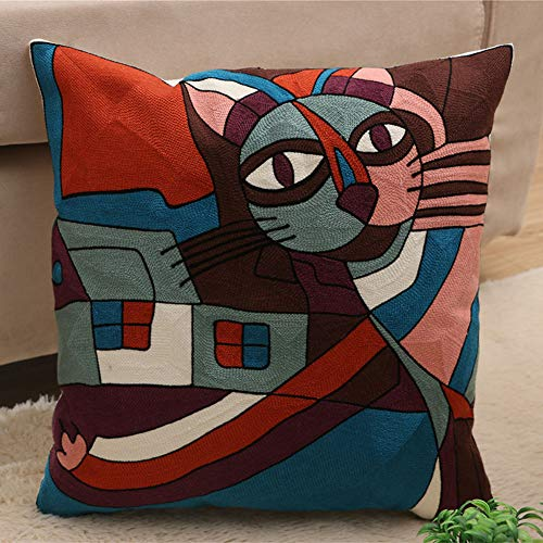 (D C.Supernice Embroidered Cotton Throw Pillow Cover Abstract Pattern Hippy Cushion Cover for Car seat livingroom Bedroom Sofa Office with Invisible Zipper 18