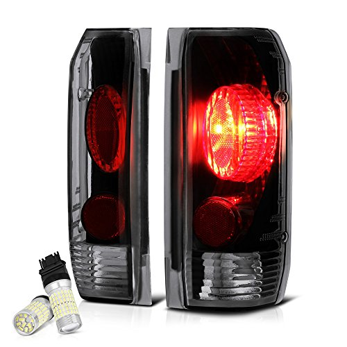 Vipmotoz Black Smoke Euro Style Tail Light Lamp Assembly For 1987 1996 Ford Bronco F 150 F 250 F 350 Pickup Truck Full Smd Led Reverse Bulbs Included Driver Passenger Side