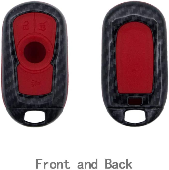 TANGSEN Smart Key Fob Case for Buick Encore Regal Sportback 4 Button Keyless Entry Remote Personalized Protective Cover Plastic Carbon Fiber Pattern Black Silicone