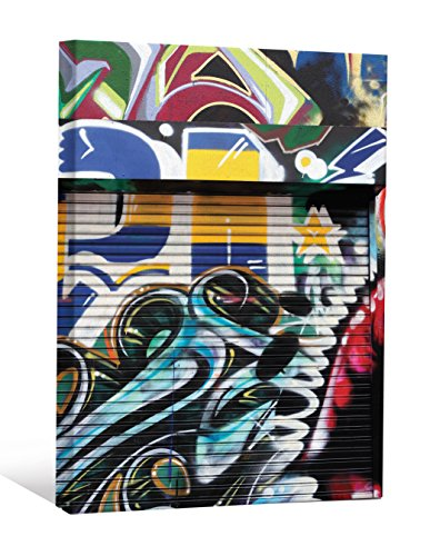 JP London DDCNV0085 Ready to Hang Feature Wall Art 2'' Thick Heavyweight Gallery Wrap Canvas Graffiti Garage Urban Punk Door At 60'' High by 40'' Wide by JP London
