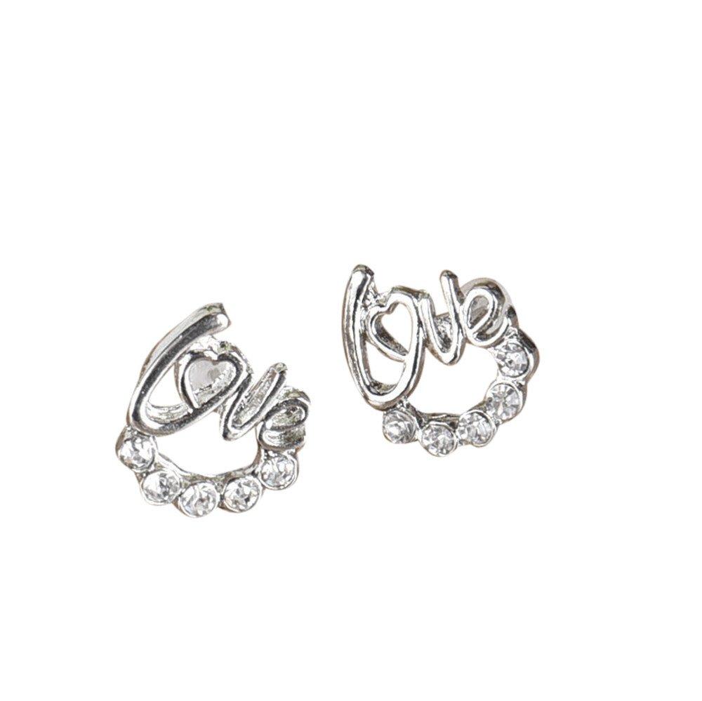 BSGSH Jewelry Sterling Silver Love Earrings Studs Set Hypoallergenic, Simple Ear Stud Earrings for Women (Silver)