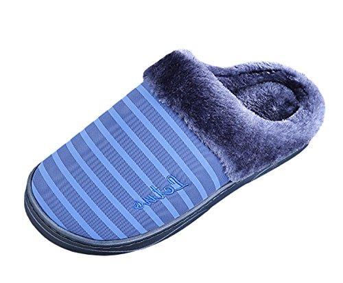ICEGREY Herren Winter Warme Hausschuhe Streifen Muster Plüsch Fleece Gemütliche Wärmehausschuhe Pantoffeln Tiefes Blau 42 43
