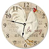 made in usa wood clock - Stupell Home Décor Le Coq White Rooster Decorative Vanity Wall Clock, 12 x 0.4 x 12, Proudly Made in USA