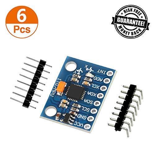 Aokin GY-521 MPU-6050 MPU6050 Module, 6 DOF 3 Axis Accelerometer Gyroscope Sensor Module 16Bit AD Converter Data Output IIC I2C DIY Kit for Arduino, 6 Pcs
