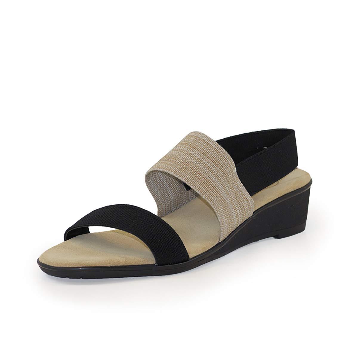Hampton Cork Wedge Sandal - Black/Linen - Size 8 - by Charleston Shoe Co. by Charleston Shoe Company