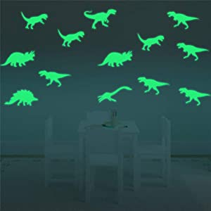 Supzone 18 pcs Dinosaurs Wall Decals Luminous Stickers Glow in The Dark Light Dino Wall Stickers Removable Vinyl DIY Wall Decor for Boys Playroom Bedroom Classroom Living Room Nursery Room